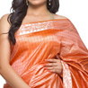 Coral Orange Crepe Silk Saree with checkered pattern