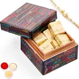 Rakhi Gifts to India, Ideal Brother Chocolate Box with Red Pearl Rakhi