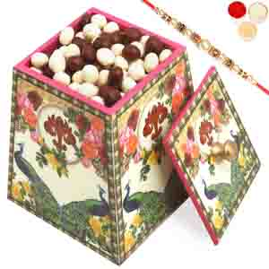 Rakhi Gifts to India, Multicolour Wooden Nutties Jar with Pearl Rakhi